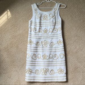 Lilly Pulitzer White and Gold Shift Dress